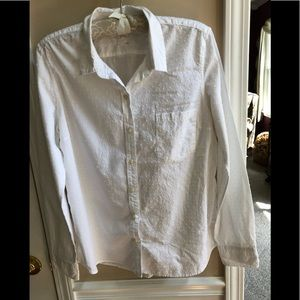 GAP White Eyelet Long Sleeve Button-Down Top